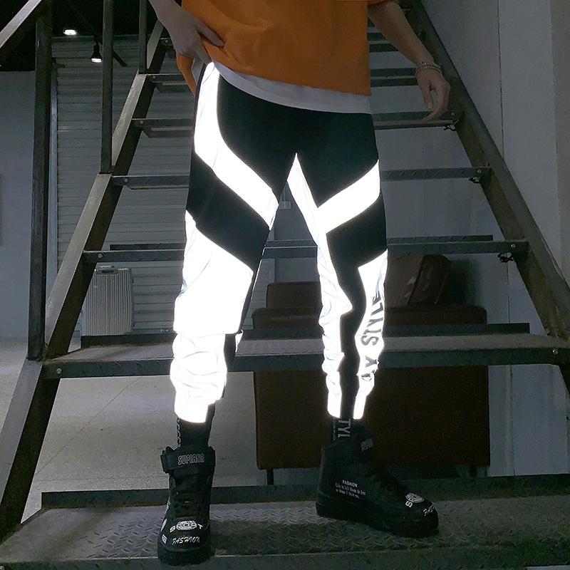 Riinr 2020 New Verão Homens Mulheres Sweatpant flash reflexivos Calças Joggers Hip Hop Dance Show Party Night Jogger Baggy Trousers