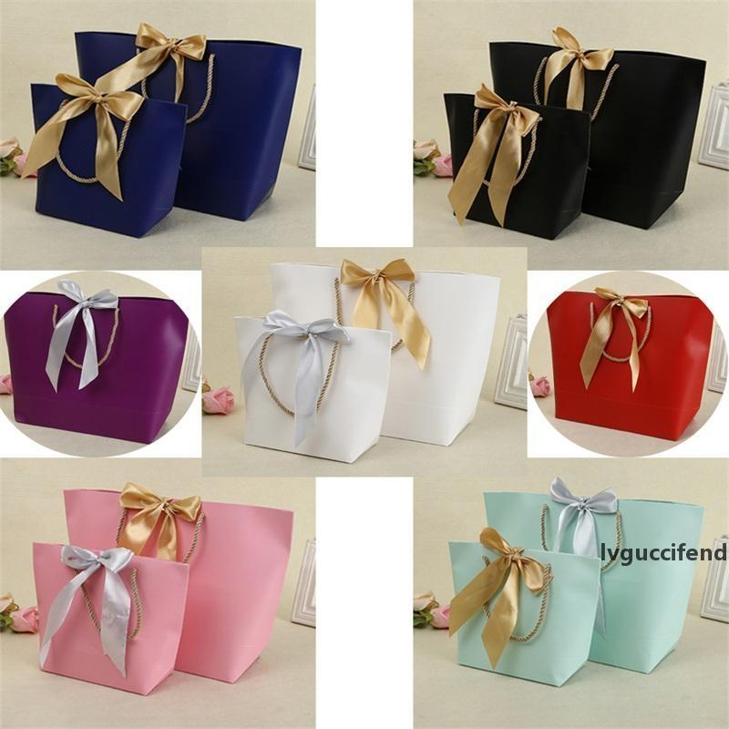 Paper Gifts Bags With Handles Pure Color 10 Colors Clothes Shoe Jewelry Shopping Bag Gift Wrap Recyclable For Packaging 21*7*17cm 1 42jy E1