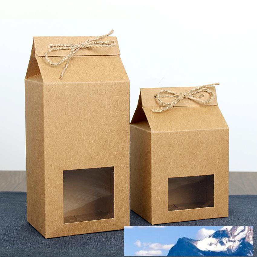 té envasado de cartón bolsa de papel kraft, cuadro de la ventana clara Para galleta de la torta de almacenamiento de alimentos de pie encima del papel de embalaje bolsa LX2705