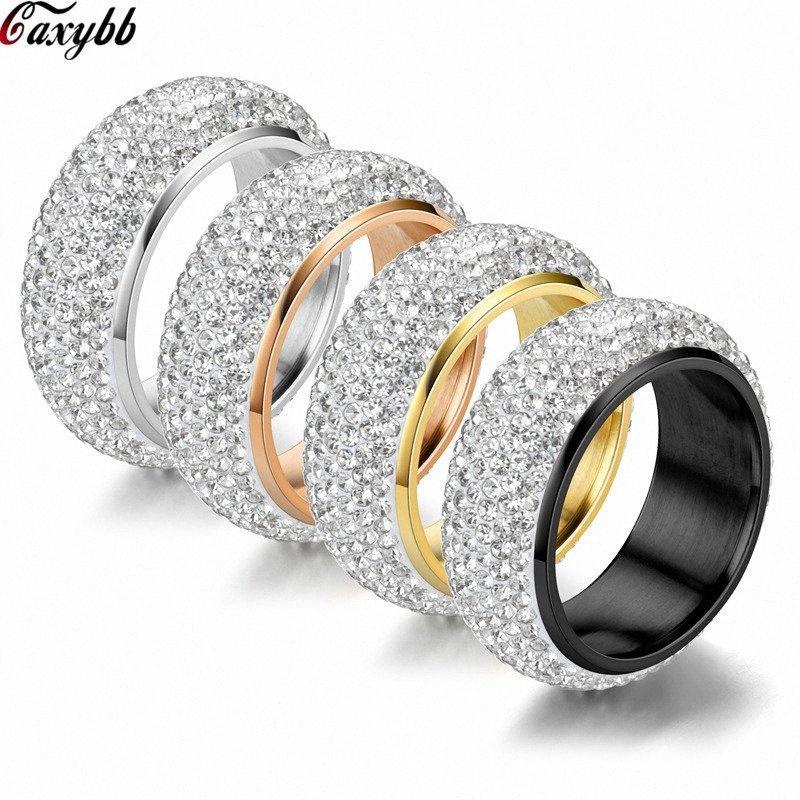 Goldsilver Couleur Bijoux de mariage en acier inoxydable 5 rangées CZ Pierre Mode bague de fiançailles pour femme APFN #