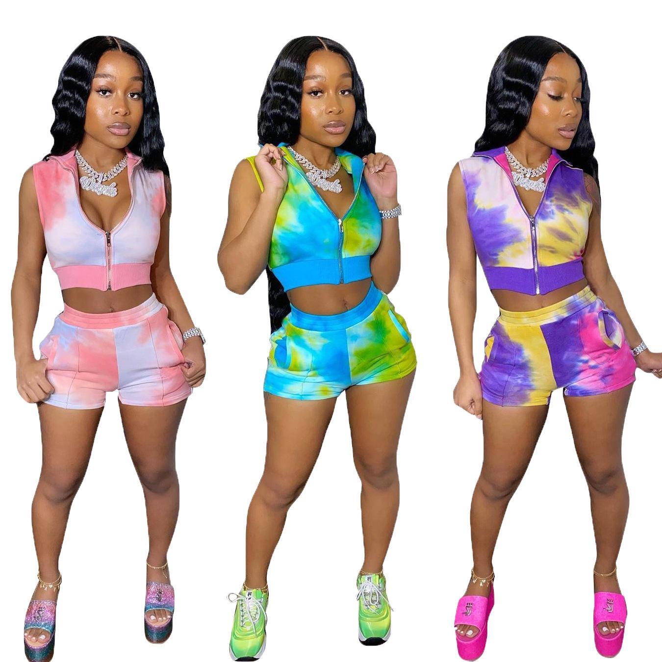 Diseñador de las mujeres 2 pieza corta de verano ropa de los sistemas tie-dye informal DHL de chándal manga corta camiseta atractiva pantalones cortos de deporte