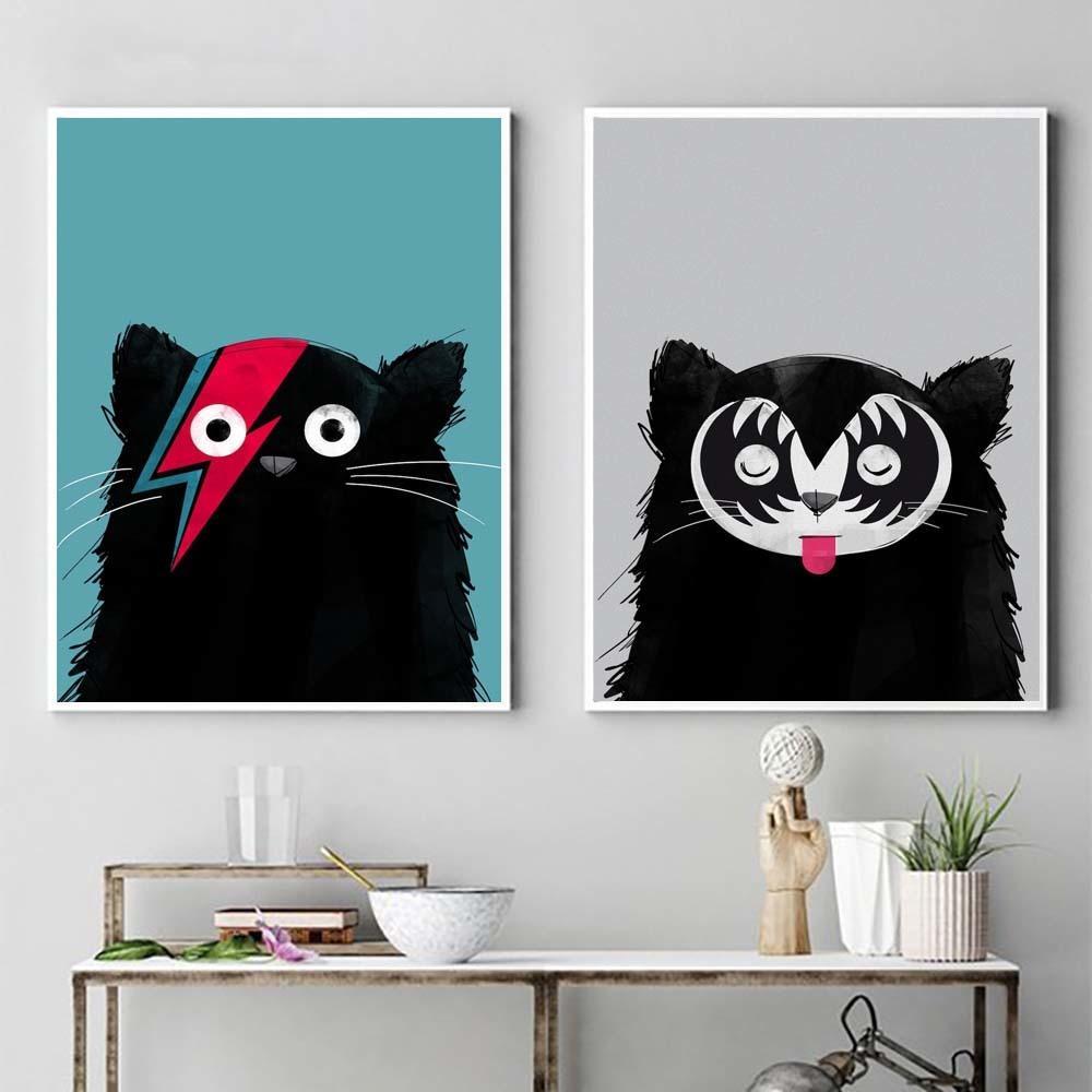 Мультфильм Черный кот Плакат Симпатичные животные Плакаты и печать Нордик холст картины современного искусства стены картина для детской комнаты Home Decor