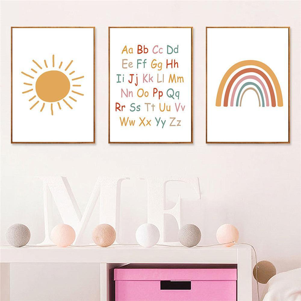 Sun arcobaleno stampa alfabeto scuola materna di arte della parete della tela di canapa Poster Child painting Art Poster Nordic Kids Room bambino Immagini della decorazione della parete