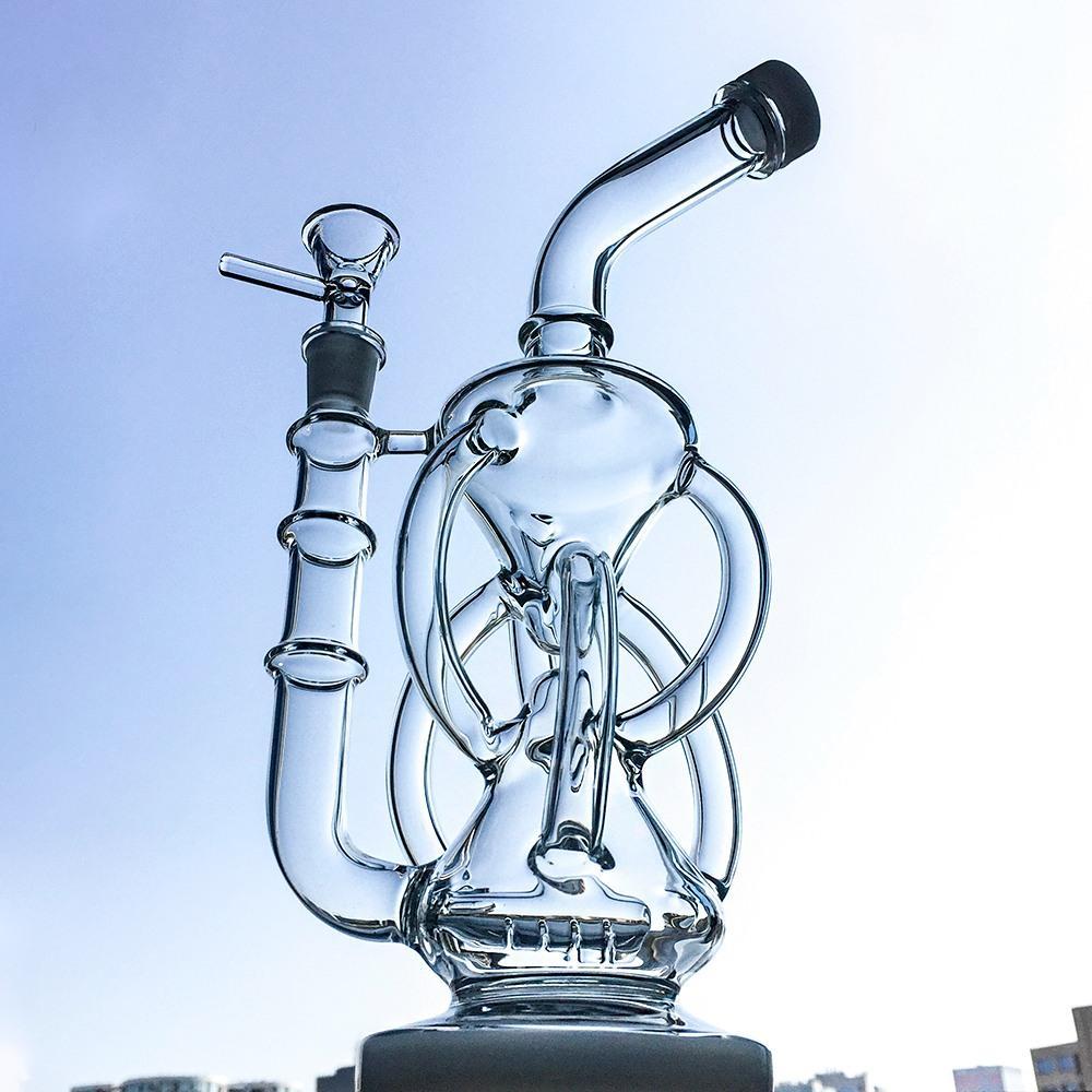 11-calowy Duży szklany Bong Inline Perc Oil Dab Rigs Recykleler Zlewek Bong 14mm Kobiece Złącze Z Miską