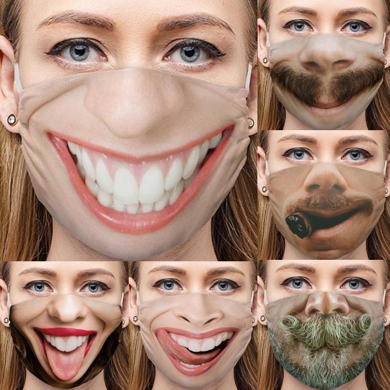 Funny Face Mascarillas Emoticon Sourire Beardes Dents Coton Cigare Nez Nez Respirator Langue Bouche Réutilisable Masques de visage Lavables 4mg C2