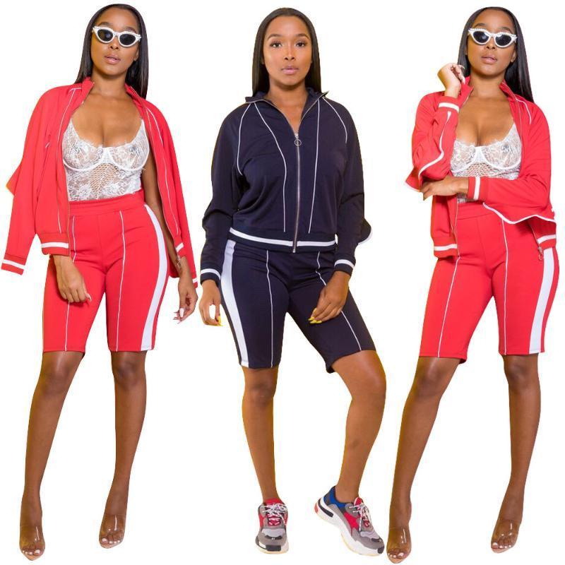 Kadın Eşofman Beyaz Çizgili Moda Kadınlar Sonbahar İki Adet Set Uzun Kollu Fermuar Pelerin ile Elastik Bel Skinny Diz Pantolon S Tops S