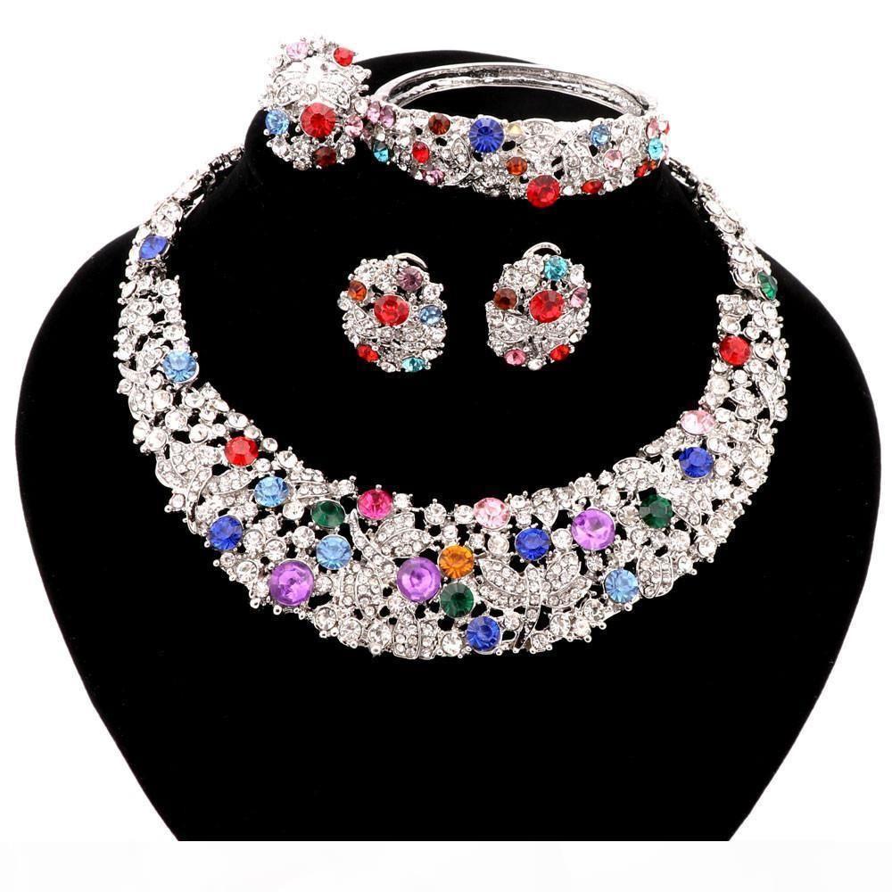 2 colores de moda de la venta directa de joyería fija el collar Mujeres para la boda del partido de Boho del collar de la declaración de cristal con aretes de 2016