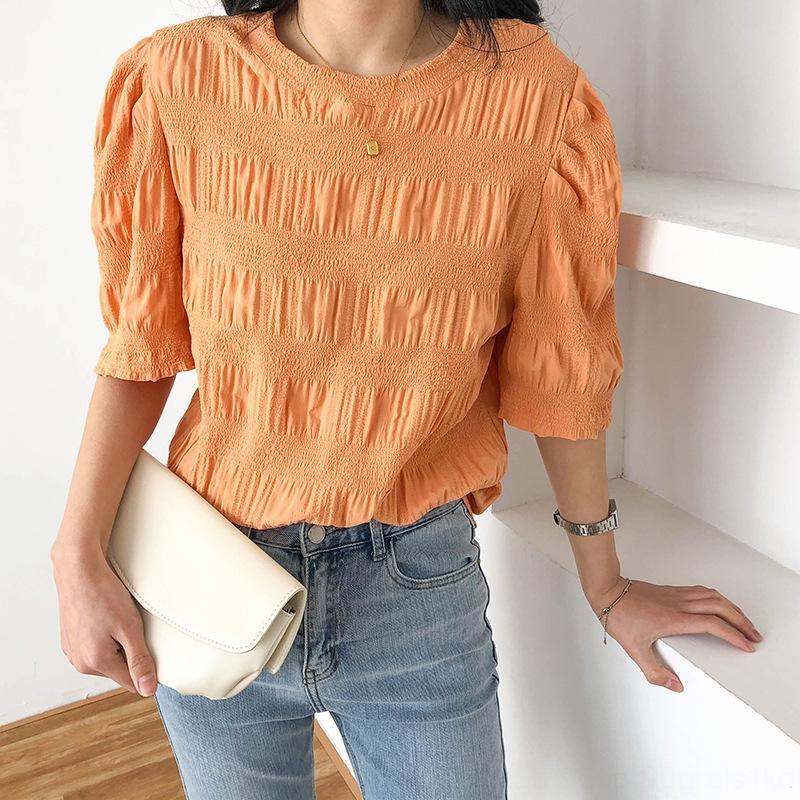 m8gxp 2020 manches bulle chemise plissée à manches courtes printemps féminin et été style coréen Top shirt nouveau style coréen haut lâche X98