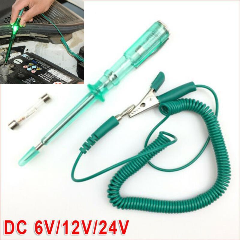 Detector Sistema probador del voltaje del circuito 1pc alambre eléctrico verde DC 6V / 12V / 24V lámpara del coche Luces de la sonda de prueba muy práctico