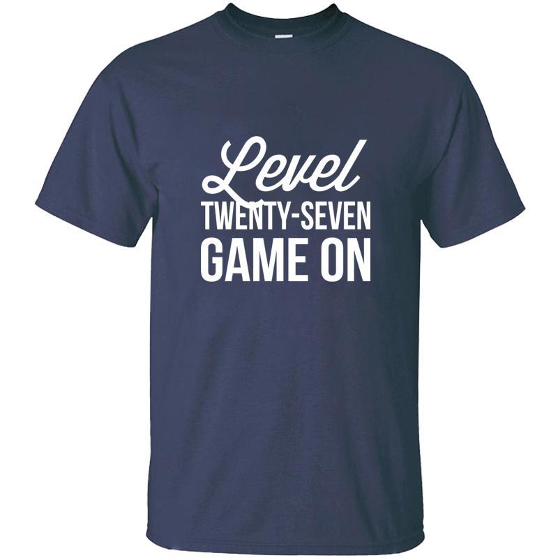 Baskılı Tasarım Seviye 7 Oyun On Tişört Pamuk Komik Yuvarlak Yaka Gents Boş T Shirt CAMISAS Gömlek Üst Kalite