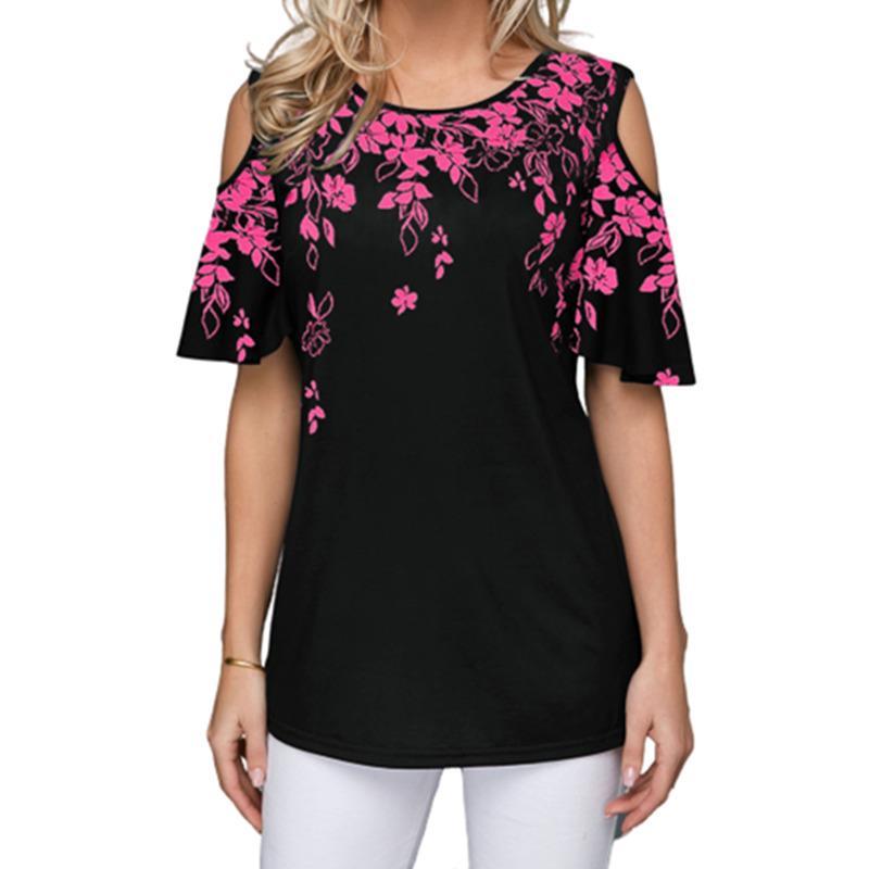 Best Seller estate delle signore di allentato maglietta casual a maniche corte Top fuori-spalla sexy ha stampato la maglietta più le donne Stilisti