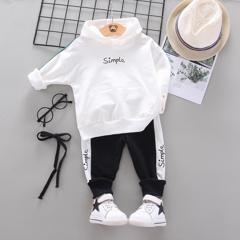 Traje de moda chándal ropa del muchacho 2pcs ropa del bebé fija niños ocasional niños ocio Deporte Hoodes Pantalones