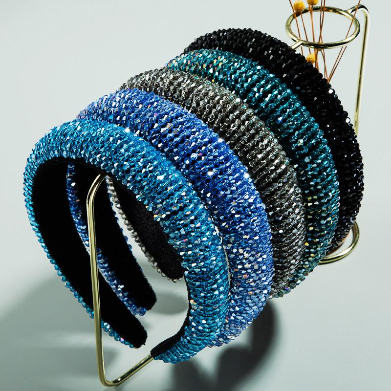 Fashion Crystal Hairbands Rhinestone Padded Baroque Headband Party Wedding Hair Hoop for Women Girls Hair Accessories Headpieces Gifts