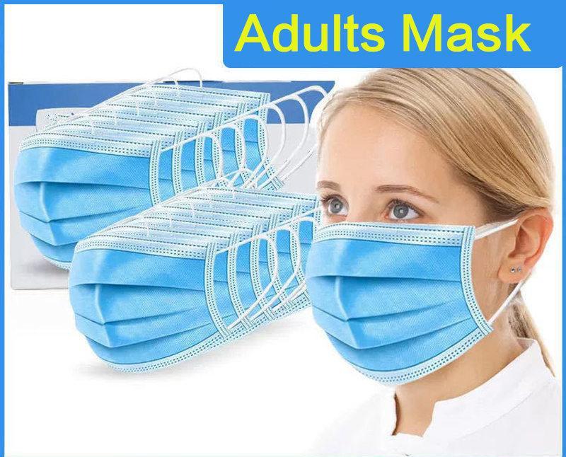 Máscara descartável da boca de 3 camadas da boca de 3 camadas de máscaras livres 3 camada 3 não tecido EFV EFV-Loop de orelha-loop Respirável Transporte ao ar livre máscaras macias enseadas
