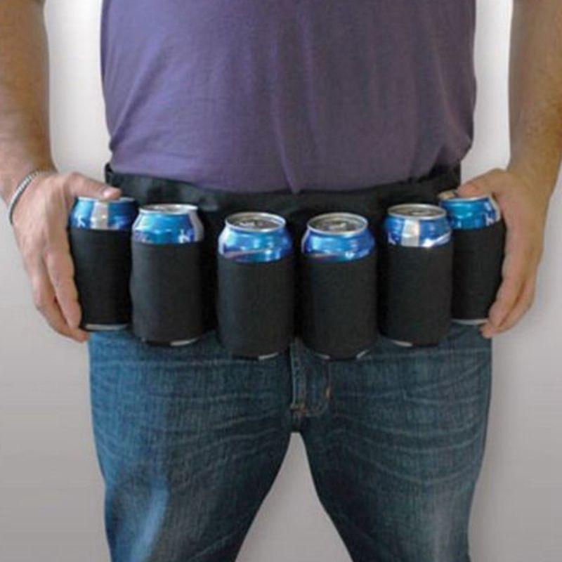 Beer Belt Holster / beber refrigerante pode garrafa Pouch / 6 Pack Holster, Blak camuflagem preta
