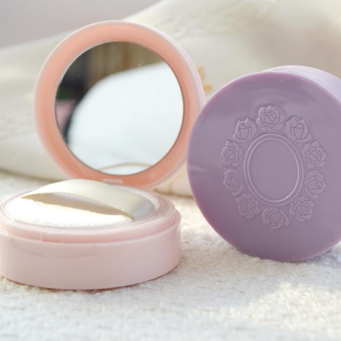1pcs esvaziar jar solto com espelho peneira plástica cosmética compacto caso garra Maquiagem viagem subpackage Box