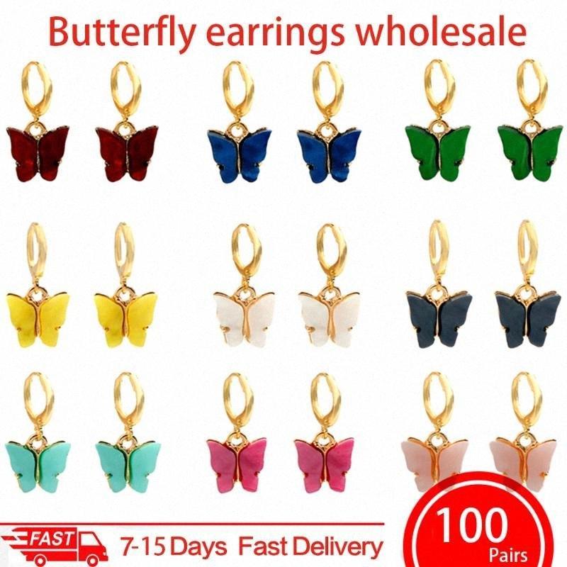 Sólo siente 100Pair / Set acrílico de la manera de la mariposa pendientes de gota de color oro encantadora de plata cuelga los pendientes de insectos fija la joyería regalo bjvr #