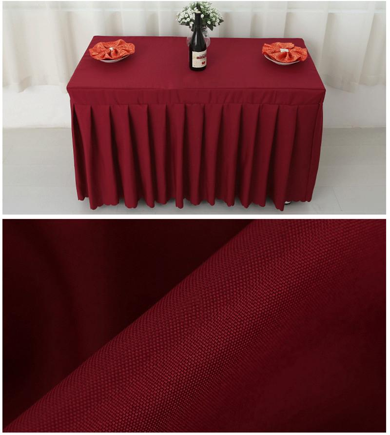 Otel Konferans Odası Düğün Malzemeleri için Dikdörtgen Masa Etek Polyester Düğün Ziyafet Masa Örtüsü Ev Masa Örtüsü
