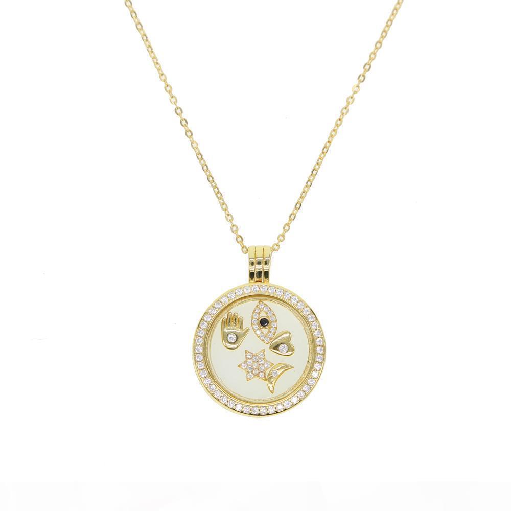Argento 925 medaglione galleggiante adatta collana designer europei collane fortunato simbolo aperto argento