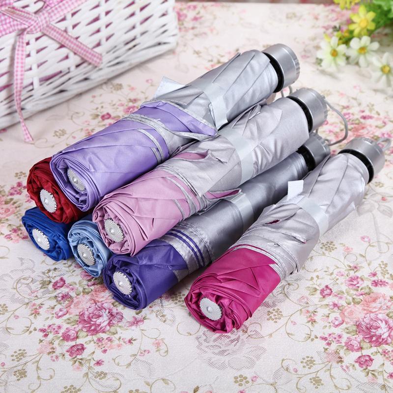 Fest Farbe Folding Umbrella Silber Kunststoff UV-Sonnenschutz Sonne Regen Frauen Männer Regenschirm-kreatives Design Regenschirm-Mischfarben-BH2187 WCY