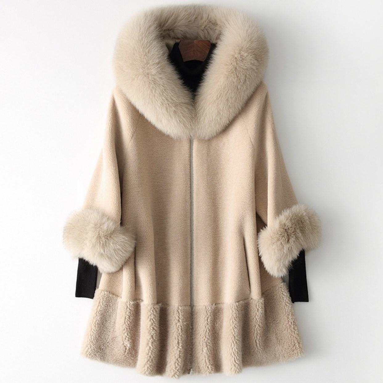 جديد الموضة معطف الصوف فوكس طوق الصوف معطف دافئ سترات