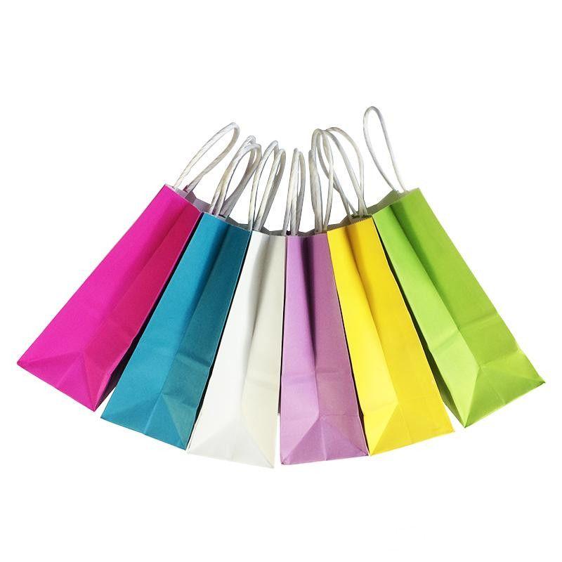 bolsa de papel de alta calidad multi-funcional con asas tienda de ropa compras envuelta regalo bolsas de papel kraft 21x15x8cm bolsa de regalo Festival
