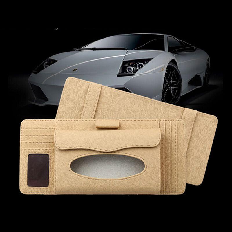 Организатор сумки CD Автомобиль Автомобильная салфетка для салфетки организатор козырек для козырек ткани коробка грузовика DVD мешок для бумаги держатель для хранения карточки SOPMP