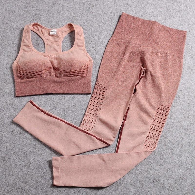 Yoga transparente set equipo del deporte para la mujer 2 piezas gimnasia ropa de entrenamiento conjunto de las mujeres traje deportivo fitness Active Wear 04nB #