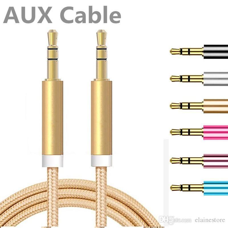 2020 جديد 1M كابل AUX 3FT المعادن غير منقطع النسيج جديلة أوكس الصوت سيارة تمديد كيبل 3.5mm الذكور إلى الذكور للأذن، رئيس المجلس، الهاتف المحمول