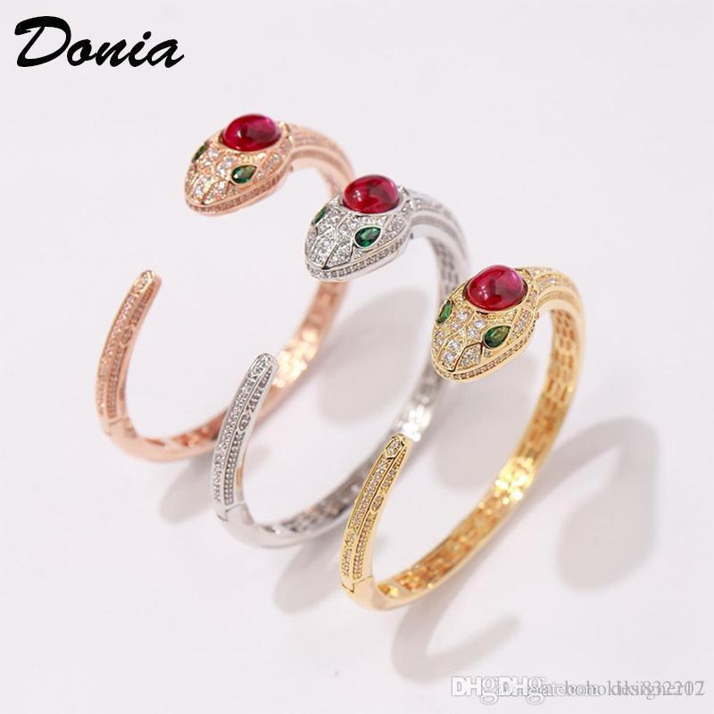 Donia jewelry three color electroplating exaggerated micro inlay zircon ferocious animal Adjustable Bracelet personalized birthday gift