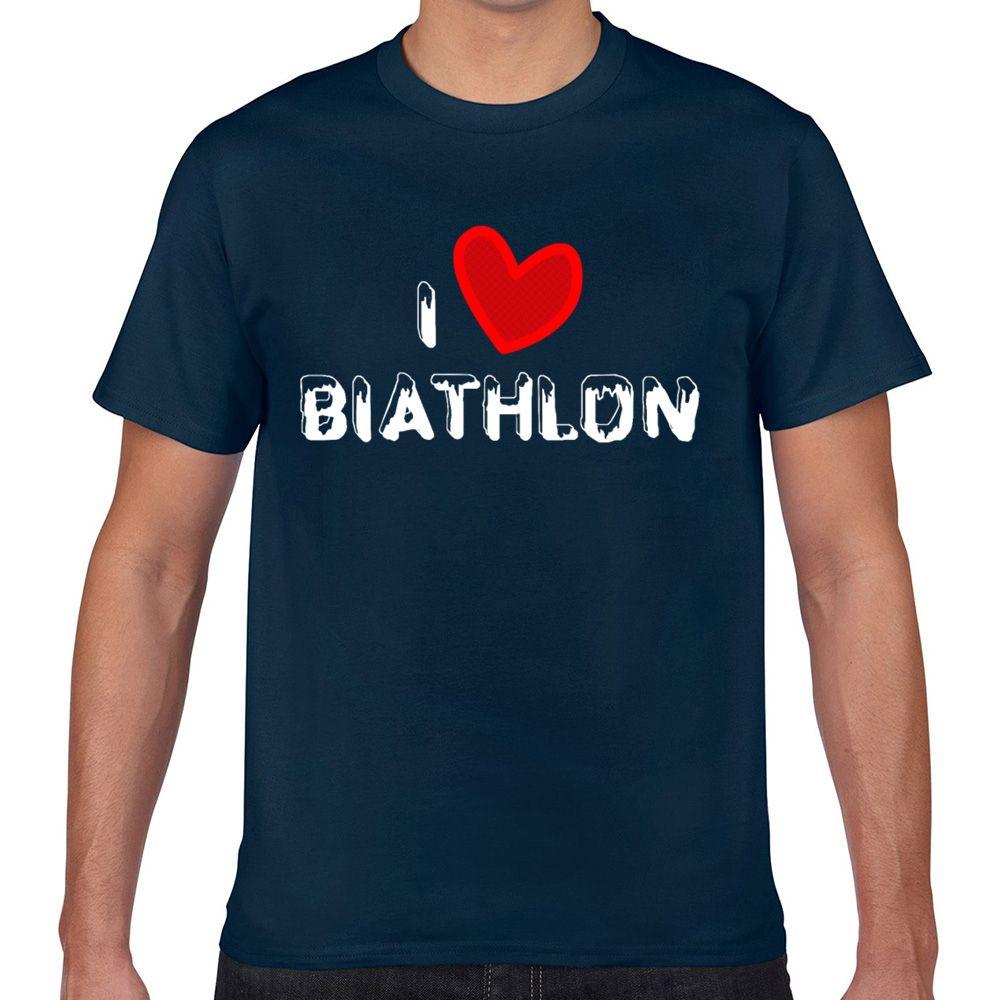 Tops T Shirt Men biathlon cool winter sport ski shooting idea Hip Hop Vintage Geek Cotton Male Tshirt XXX