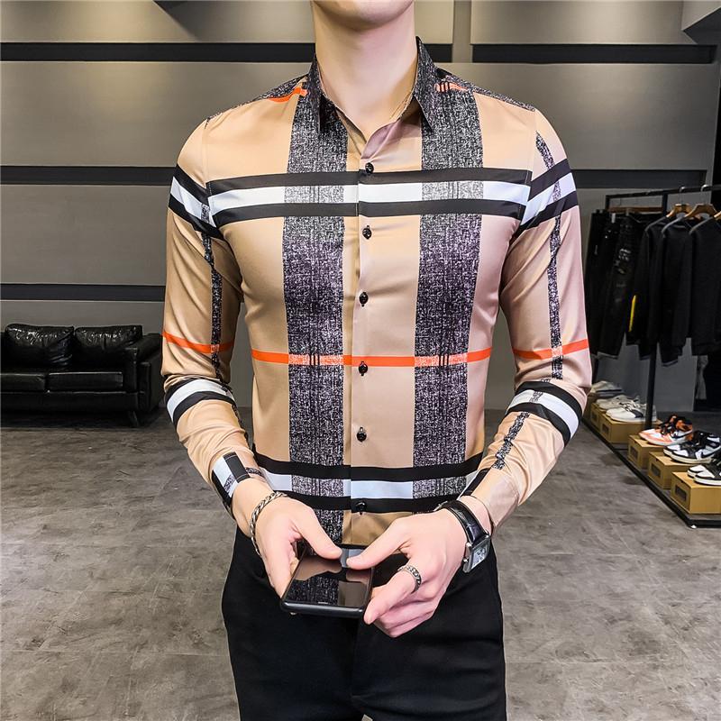 Streetwear Chemisier sociale Camisa Masculina 2020 printemps coréenne Designer Casual Shirt à manches longues hommes Slim Fit Mens Dress Shirts