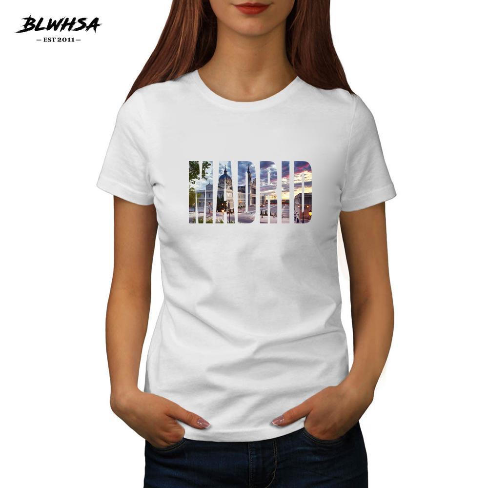 Новый Мадрид Печать тенниска Женщины испанского города Мадрид 100% хлопок футболки футболки Мода Одежда Смешные Женской