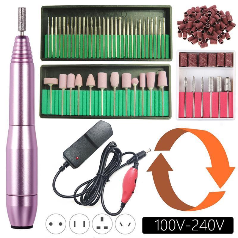 20000rpm elektrische Nagel-Bohrgerät-Maschine Maniküre-Satz Pedicure Kit Left Hand-Nagel-Bohrgerät-Akten Bits Gel Nagelhautentferner Polierwerkzeug