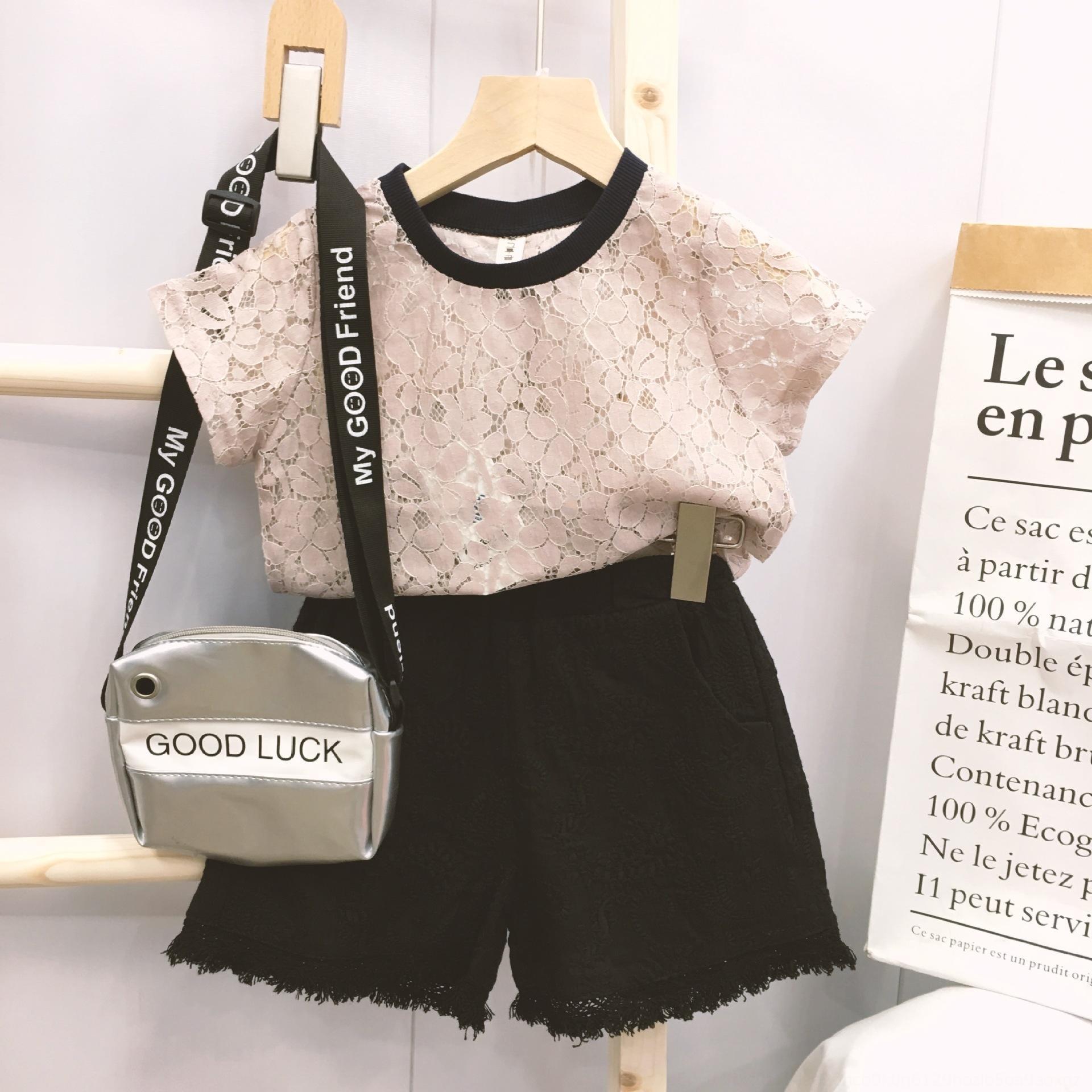 2020 estate nuovi media e grande vestito alla moda vestito a due pezzi dei bambini del vestito bambini semplici ragazze di