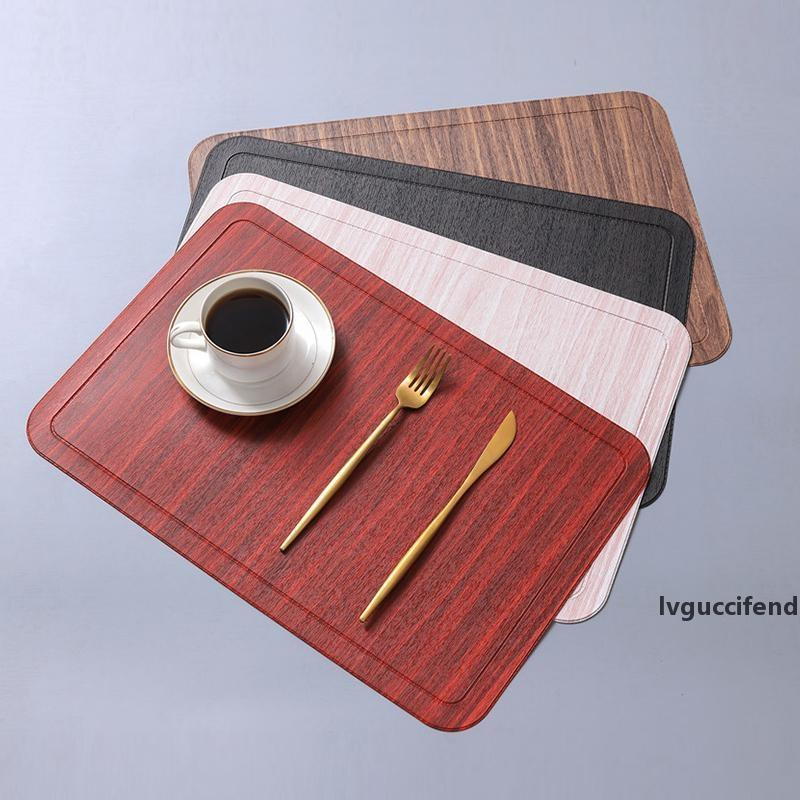45x30cm Imitation Wood Grain Placemat PU Leather Pad For Dining Table Mat Heat Insulation Non Slip Placemats Bowl Coaster
