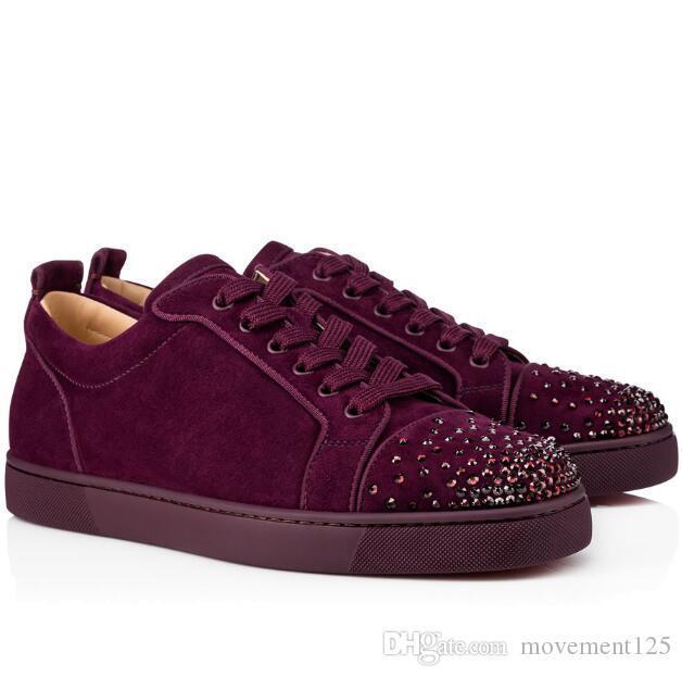Top-Qualität Red Bottom Sneakers Junior Degra Strass Männer Frauen beiläufige flache Wildleder Low Top Brands New Freizeit Wohnungen EU35-46