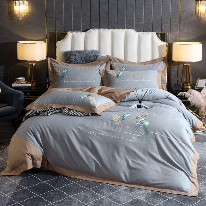 Yatak takımları tüy nakış çarşaflar mavi set kral kraliçe yatak çarşafları mısır pamuk nevresim kapak levha yastık kılıfları