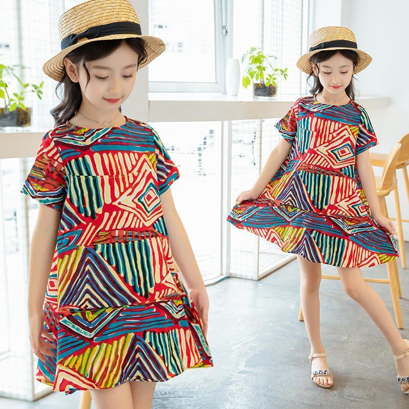 2020 Frühlings-neue süße Kinder kleiden Mädchen-Druck-Blumen-Blumenkleider Mädchen-beiläufige Baumwollkleid Vestido Infantil Kinderkleidung