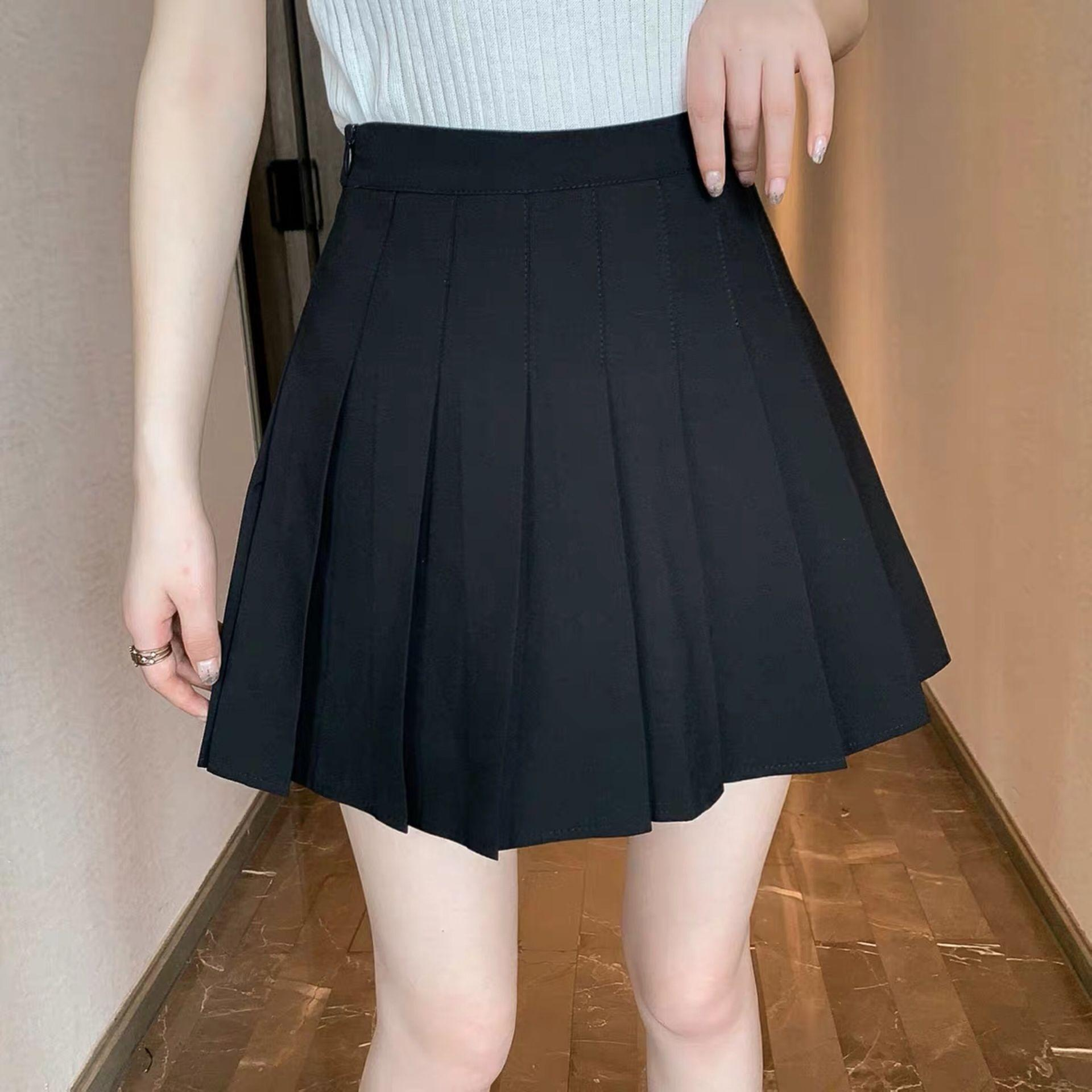 2020 новый летняя тонкий A- ЛИНИЯ установлена тонкий студент Корейские моды плиссированной высокой талии A- линия юбка женщины модули юбку