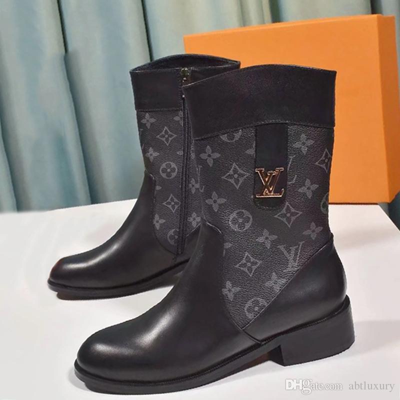 Yeni Kış Boots Kadınlar Fermuar Orta -Calf Kama Çizme Lüks Tasarım Chaussures De Femme Moda Bayan Ayakkabı Patik Vintage Stil Bottes FEMM