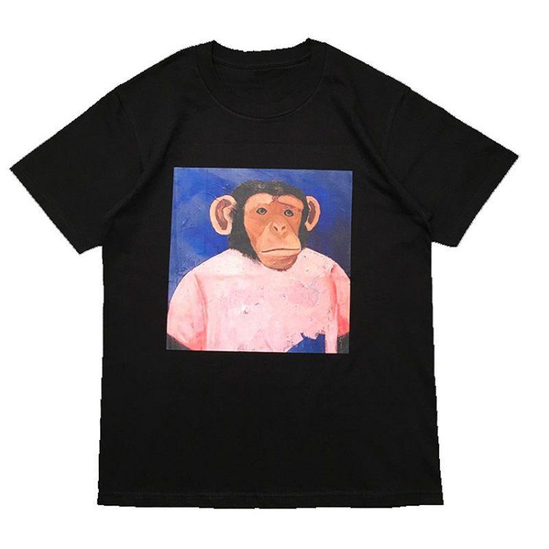 Street Fashion Mens T shirt 2020 monkey Pattern Polos Short Sleeve Tennis T shirts Men Women Couple Stylist High Quality Pullover Tee