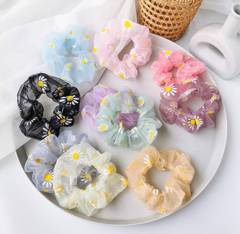 Scrunchies Hairband Daisy Hair Ties Rope Floral Girl Headband Flower Women Ponytail Holder Summer Hair Accessories 10 Designs