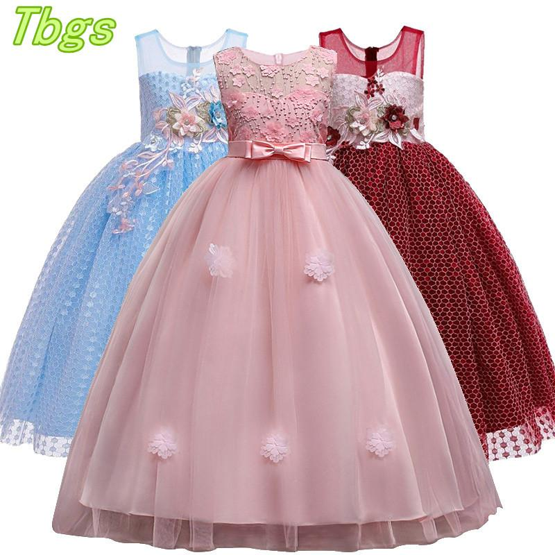 Kızlar T200709 için Prenses Parti Elbise Çocuklar Örgün Düğün Akşam Giyim Çocuk Elbise için Çiçek Kız Uzun Elbise Dantel Nakış