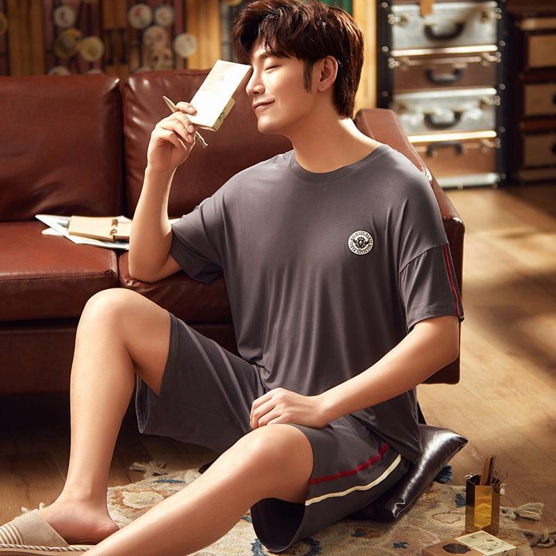 VzLEQ novos pijamas de manga curta de verão modal Shorts fina e shorts do verão dos homens confortável casa terno dos homens pai