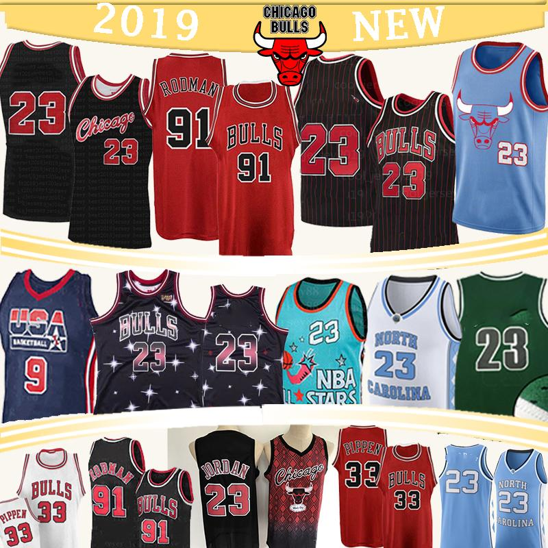 NCAA سكوتي بيبن 33 23 مايكل كرة السلة الفانيلة دينيس رودمان 91 كلية ولاية كارولينا الشمالية جامعة 45 MJ شبكة الفانيلة