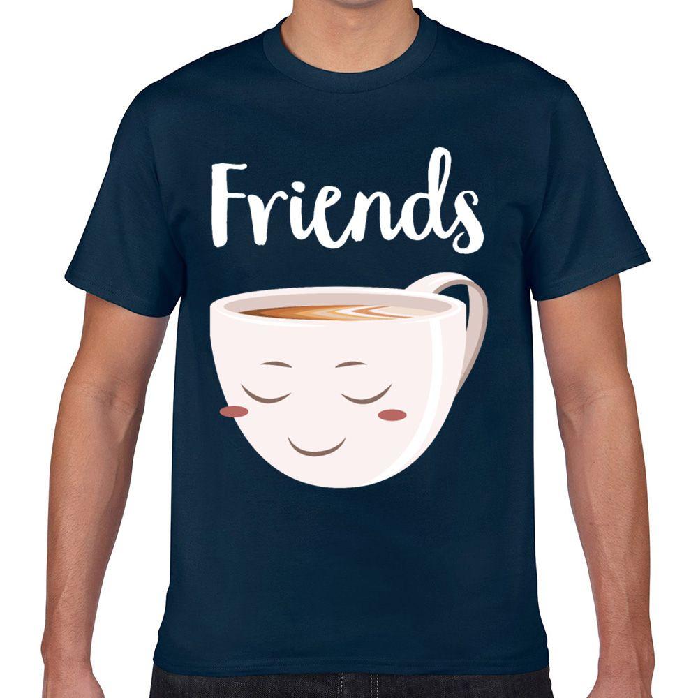 Top maglietta degli uomini migliori amici ciambella caffè part2 divertente cotone bianco maschio maglietta