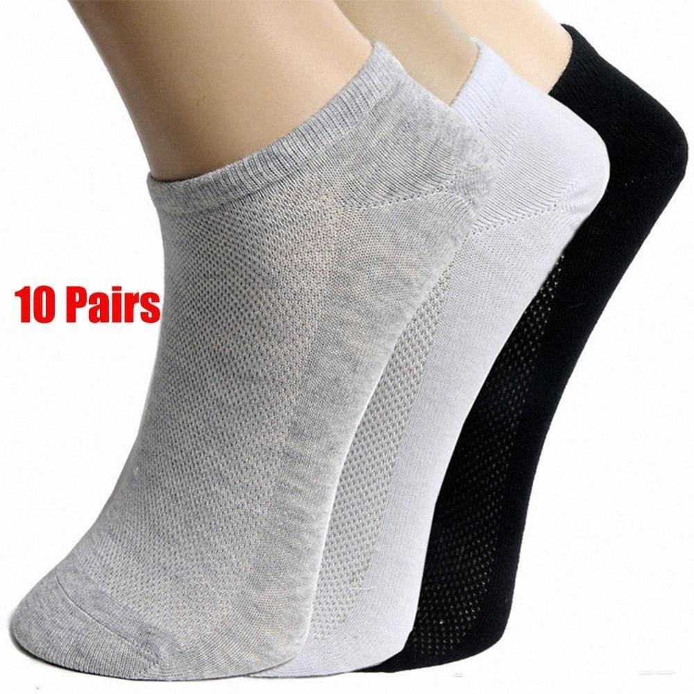 20pcs = 10Pair sólido de malla de los hombres de los calcetines invisibles del tobillo Calcetines verano de los hombres respirable fino masculino Barco VENTA CALIENTE 2019 CtZr #