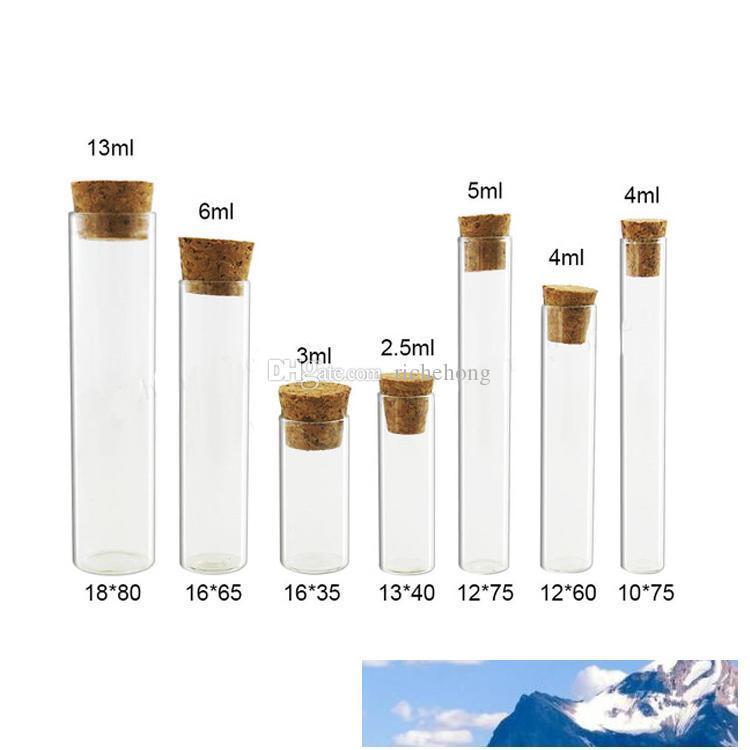 50 X Mini Leer 2.5ML 3ML 4ML 5ml 6ML 13ML Klarglasschlauch mit Korken Kleine Corked Rohrbehälter zugekorkte Vials