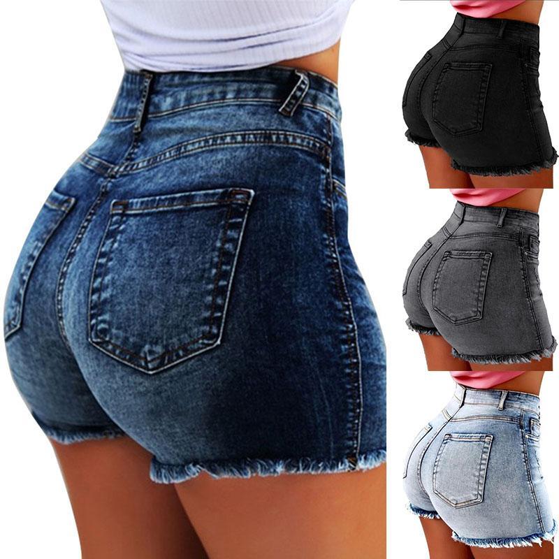 Mulheres Denim Shorts Moda borlas Buraco Short Jeans Sexy cintura alta Skinny Senhoras Calças curtas Casual Verão push-up jeans lavados 050720